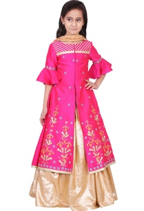fuschia-gold-taffeta-cotton-lurex-artificial-silk-embroidered-lehenga-set