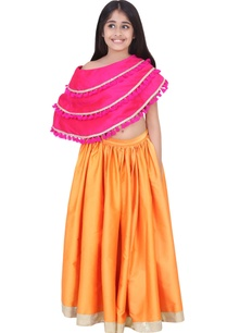 fuschia-orange-taffeta-banarasi-silk-frilled-lehenga-set