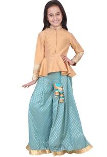 gold-turquoise-dupion-banarasi-silk-artificial-silk-peplum-sharara-set