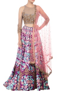 purple-lehenga-with-grey-blouse-pink-dupatta