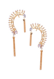 gold-earcuffs-with-pearl-beads-and-gold-tassels