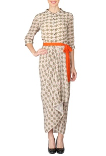 off-white-coral-beige-printed-dhoti-dress