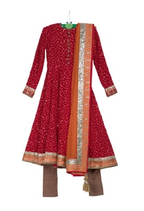 red-pre-embroidered-anarkali-kurta-with-churidar-net-dupatta
