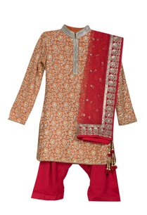 red-pre-embroidered-collar-kurta-with-pants