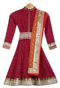 red-orange-kalidar-phulkari-kurta-with-dupatta-churidar