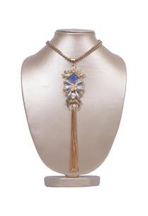 gunmetal-ribbon-tassel-necklace