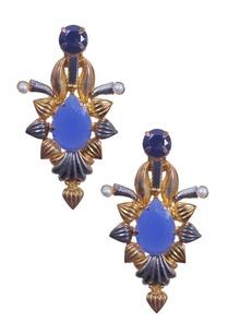 black-gold-and-blue-petal-shaped-earrings