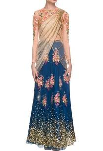 imperial-blue-cream-floral-sequined-lehenga-set