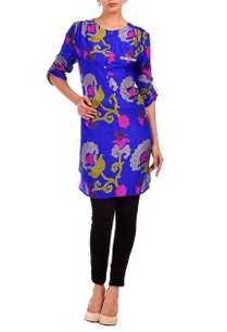 ink-blue-fuschia-grey-floral-printed-tunic