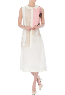 off-white-and-pink-layered-knee-length-dress