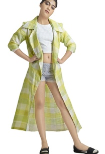 green-yellow-checkered-print-long-jacket