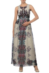 ivory-grey-teal-floral-printed-dress