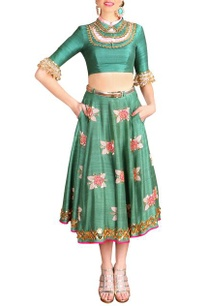 jade-green-floral-embellished-crop-top-with-skirt