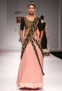 embellished-peach-and-black-lengha-set