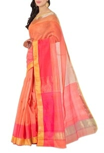 peach-and-pink-striped-chanderi-sari