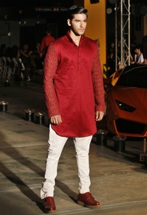 red-silk-kurta-trouser-set