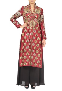 maroon-gold-motif-embroidered-kurta-with-black-palazzos