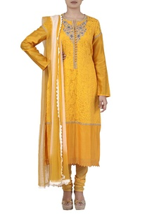 yellow-ivory-embroidered-kurta-set