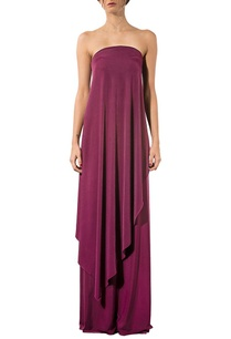 wine-strapless-draped-gown