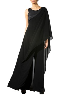 black-asymmetrical-draped-crop-top