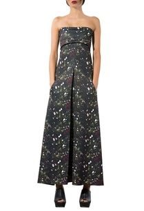 black-kiem-printed-strapless-dress