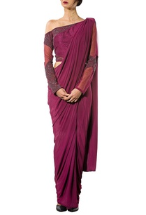 wine-off-shoulder-embellished-concept-sari