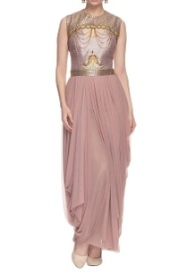 lavendar-draped-dress-with-chain-details