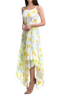 white-yellow-hand-painted-floral-maxi-asymmetric-dress