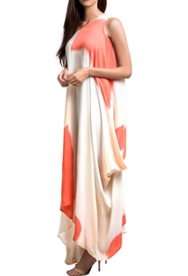 white-coral-georgette-one-shoulder-draped-dress