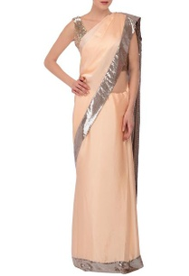 light-peach-silver-sequin-embellished-sari