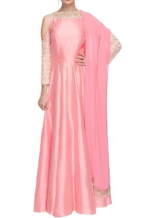 pink-cold-shoulder-anarkali-with-dupatta