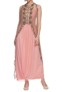 light-pink-drape-dress-with-embellished-cape