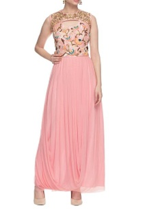 light-pink-drape-dress-with-floral-sequin-work