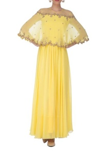 light-yellow-gold-embroidered-cape-anarkali-set