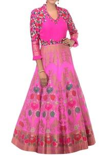 magenta-pink-banarasi-woven-gown