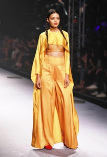gold-yellow-layered-cape-bustier-pant-set