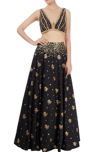 black-embellished-lehenga-set