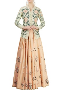 green-embroidered-jacket-peach-lehenga