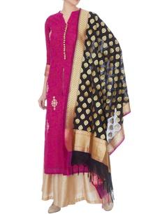 magenta-silk-kotta-embroidered-kurta-palazzo-and-dupatta