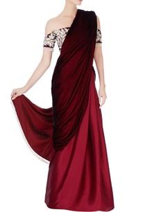 maroon-burgundy-ombre-sari