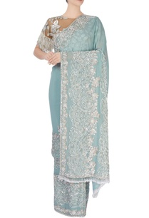 aqua-blue-embellished-sari