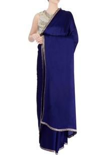 royal-blue-sari-with-tasseled-blouse