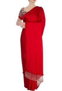 red-sari-with-fringed-border-and-blouse