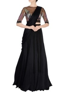 black-pre-stitched-sari-blouse