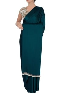 teal-green-sari-with-beige-blouse