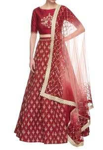 maroon-sequin-embroidered-lehenga-set