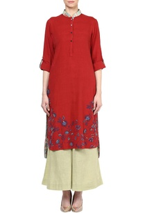 red-floral-embroidered-kurta-with-mint-palazzos