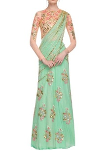 mint-green-cream-floral-sequined-lehenga-set
