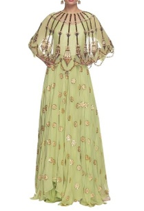 mint-green-dress-with-embellished-cape