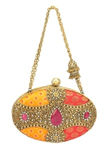 pink-and-yellow-brocade-embroidered-oval-clutch